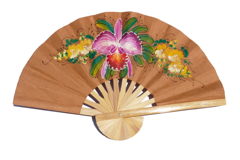 Hand painted One Orchid on Peru paper wedding fan
