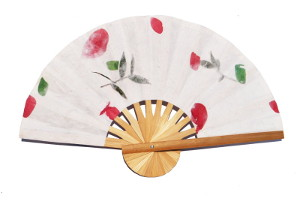 Wholesale paper wedding fans with bamboo frames and pressed flowers