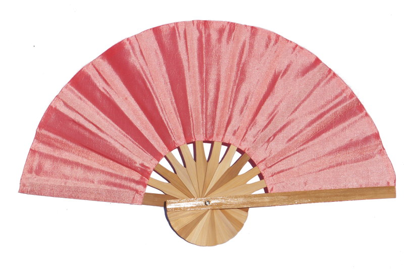 Salmon solid color silky fabric wedding fan