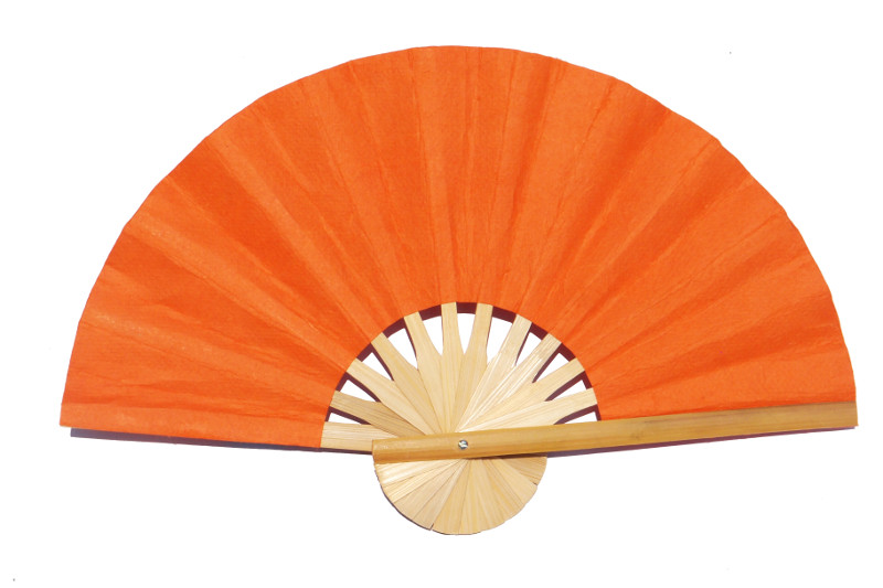 Paper wedding fan in solid color Light OrangeRed. Handmade with bamboo and mulberry paper.