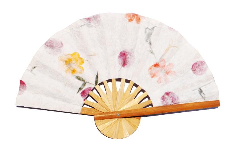 wholesale paper wedding fans with pressed flowers wedding fans