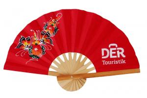 Paper Fan with Screened Logo and Hand Painted Design - Example: DER Touristik