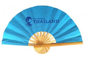 Paper fan with screened logo - Example: WorldTeach Thailand