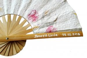 Hand Painted Names and Date on a Pressed Flowers Wedding Fan