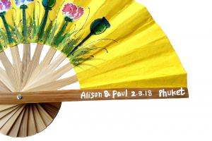 Hand Painted Names, Date and Place on a Hand Painted Paper Wedding Fan