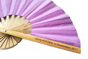 Clear Sticker Names and Date on a Solid Color Paper Wedding Fan