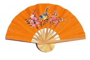 Hand painted One Bird on Light OrangeRed paper wedding fan