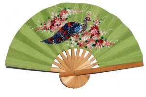 Hand painted One Peacock on YellowGreen paper wedding fan