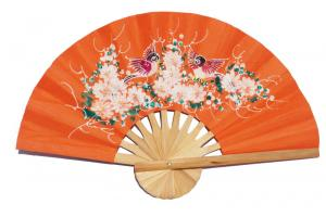 Hand painted Two Birds on Deep OrangeRed paper wedding fan
