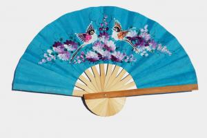 Hand painted Two Birds on SkyBlue paper wedding fan