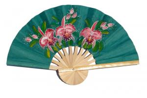 Hand painted Three Orchids on SeaGreen paper wedding fan