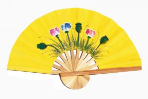 Hand painted Six Flowers on Gold paper wedding fan
