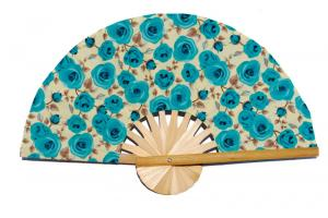 Design Pattern 09 fabric wedding fan with printed flowers