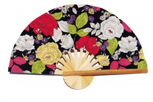 Design Pattern 10 fabric wedding fan with printed flowers