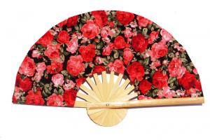 Design Pattern 11 fabric wedding fan with printed flowers