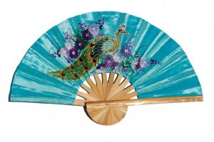 Peacock on PaleTurquoise hand painted silky fabric wedding fan
