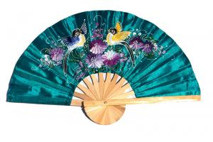 2 Birds on seagreen hand painted silky fabric wedding fan