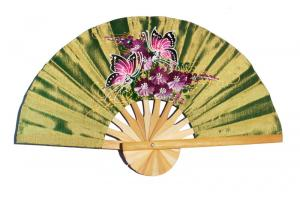 2 Butterflies on OliveDrab hand painted silky fabric wedding fan