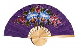 2 Orchids on rebeccapurple hand painted silky fabric wedding fan