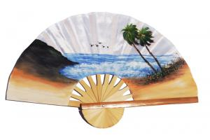 Beach and 5 birds on white hand painted silky fabric wedding fan
