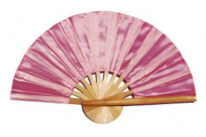 Light Coral solid color silky fabric wedding fan
