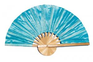 PaleTurquoise solid color silky fabric wedding fan