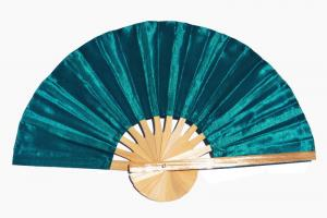 SeaGreen solid color silky fabric wedding fan