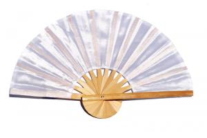 White solid color silky fabric wedding fan