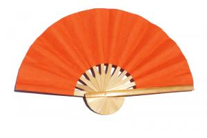 Paper wedding fan in solid color Deep OrangeRed. Handmade with bamboo and mulberry paper.
