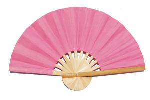 Paper wedding fan in solid color Light Pink. Handmade with bamboo and mulberry paper.
