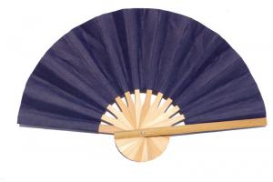 Paper wedding fan in solid color MidnightBlue. Handmade with bamboo and mulberry paper.