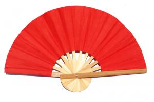Paper wedding fan in solid color Red. Handmade with bamboo and mulberry paper.