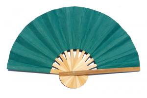 Paper wedding fan in solid color SeaGreen. Handmade with bamboo and mulberry paper.