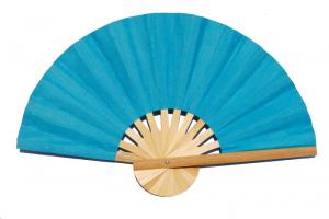 Paper wedding fan in solid color SkyBlue. Handmade with bamboo and mulberry paper.