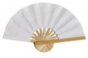 Paper wedding fan in solid color White. Handmade with bamboo and mulberry paper.