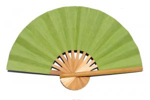 Paper wedding fan in solid color YellowGreen. Handmade with bamboo and mulberry paper.